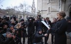 Maria Litvinenko, widow of Russian spy Alexander Litvinenko, speaks to reporters outside the High Court in London, England