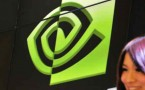 A promter stands in front of a NVIDIA logo