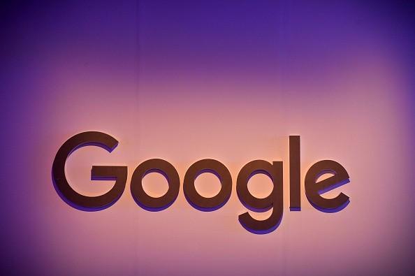 Google logo in New Delhi press conference