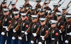Members of the Marines march during the presidential inauguration at the U.S. Capitol January 20, 2017 in Washington, DC. Donald Trump was sworn in as the 45th President of the United States.