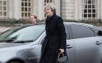 British PM Theresa May in Cardiff, Wales.