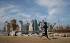 Exercise in Brooklyn- Unseasonably Warm February Temperatures Approach 60 Degrees In New York City