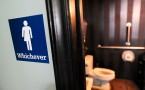 A sign of gender neutral bathrooms in Durham, North Carolina