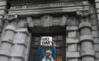 Protester in front of the 9th U.S. Circuit Court of Appeals building in San Fransisco, California..