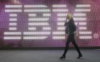 IBM logo at the CeBIT technology trade fair.