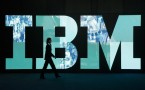 An IBM logo during the CeBIT technology trade fair in Hannover, February 2011.