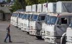 Russian convoy of trucks carrying humanitarian aid in Donetsk