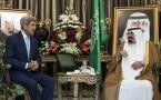 King Abdullah bin Abdul Aziz al-Saud (R) with U.S. Secretary of State John Kerry