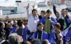 Japan's Prime Minister Shinzo Abe (C)